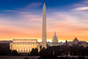 Dawn over Washington with Lincoln Memorial, Washington Monument and the Capitol Building